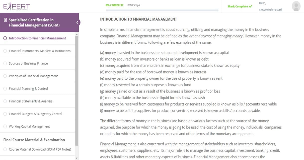 Financial Management Online Reading