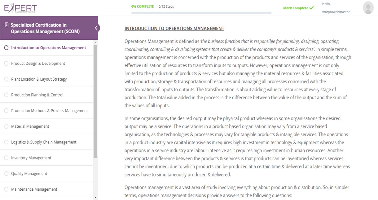 Operations Management Online Reading