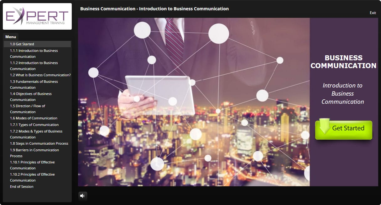 Business Communication Course Interactive Learning Screenshot