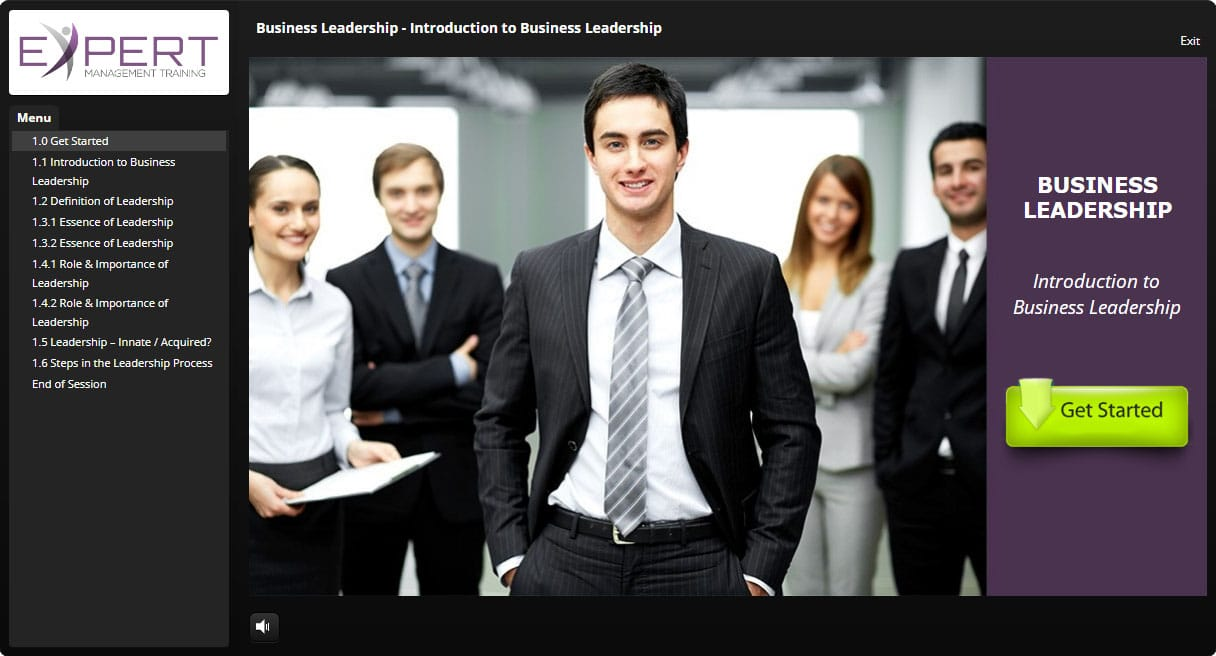Business Leadership Course Interactive Learning Screenshot