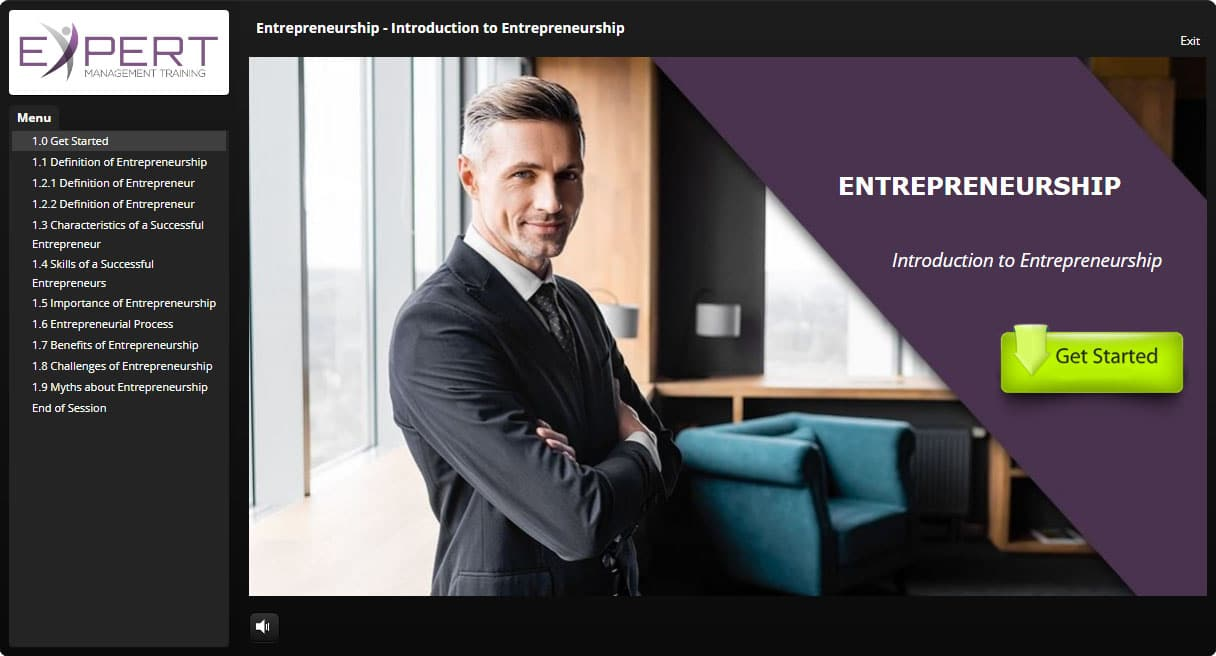 Entrepreneurship Course Interactive Learning Screenshot
