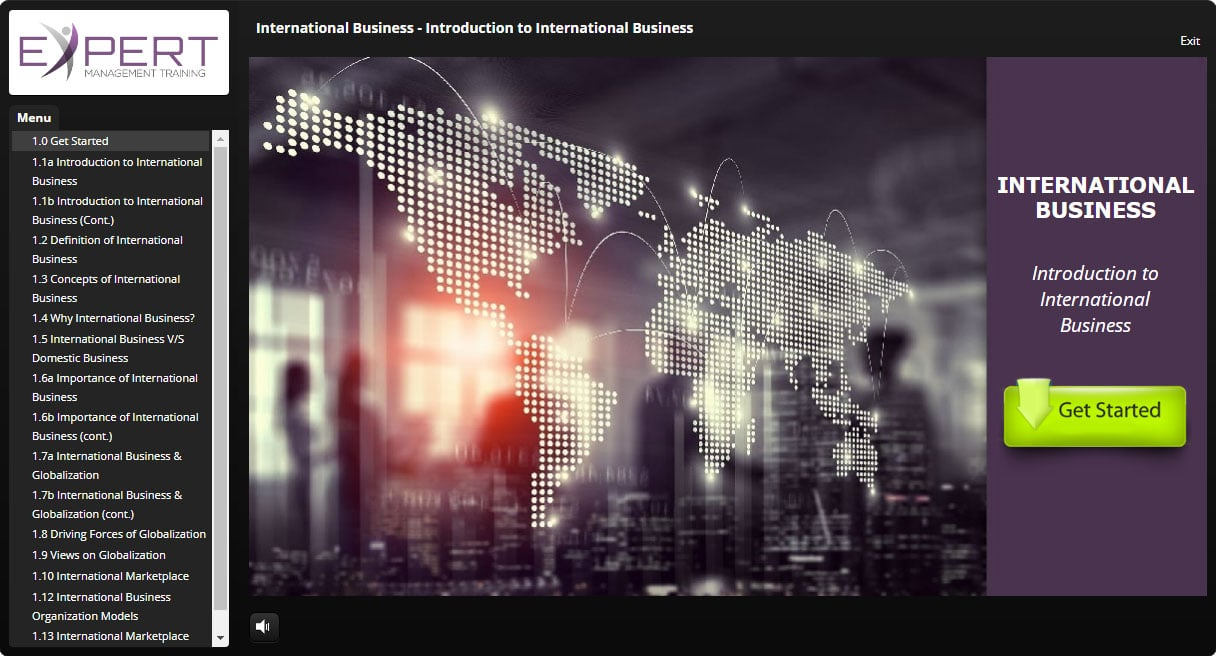 International Business Course Interactive Learning Screenshot